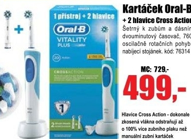 Kartáček Oral-B Vitality Plus D12.513 Cross Action,v balení 2 hlavice