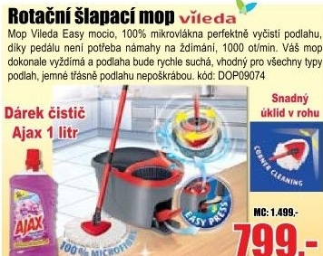 Mop Vileda Easy Wring and Clean + dárek Ajax 1000ml
