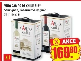 Víno Sauvignon Campo de Chile - bag in box
