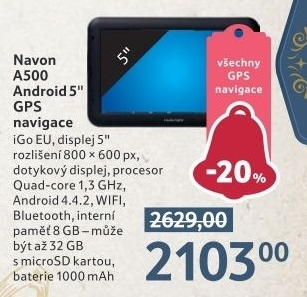GPS navigace Navon A500 Android 5&quot